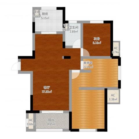 宝华家天下1室1厅2卫1厨109.00㎡户型图