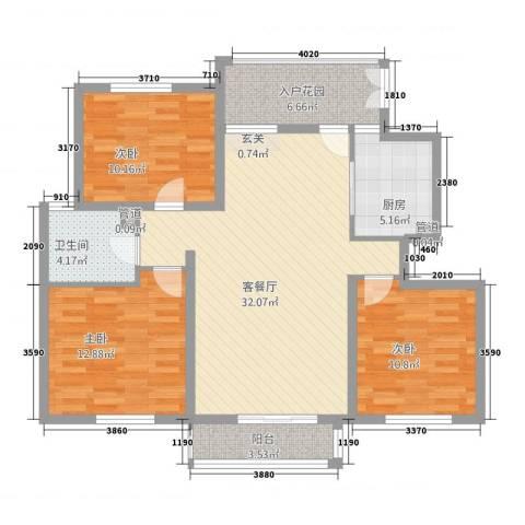 天地华城3室1厅1卫1厨122.00㎡户型图