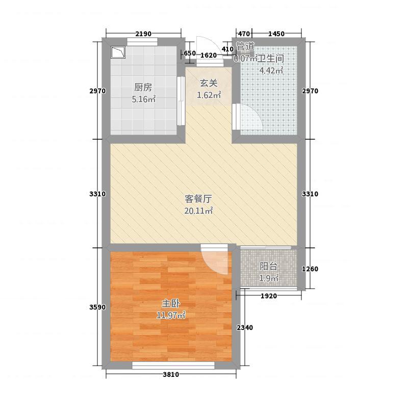 奥润府新嘉苑63.00㎡瞰海高层A户型1室2厅1卫1厨
