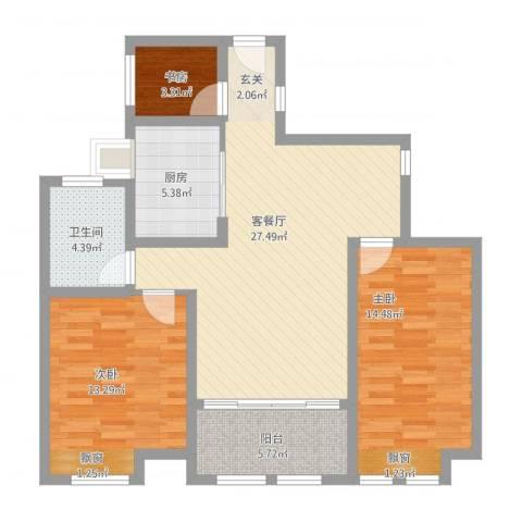 鸿舜御峰3室1厅1卫1厨107.00㎡户型图