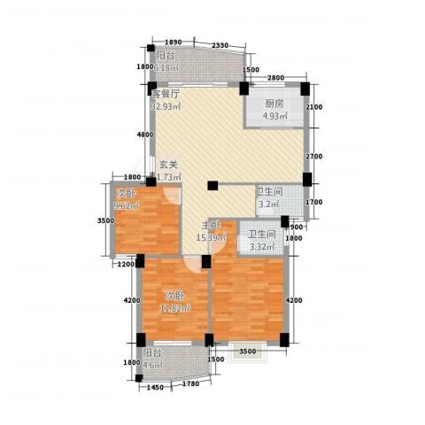 宏源大景城3室1厅2卫1厨83219.00㎡户型图
