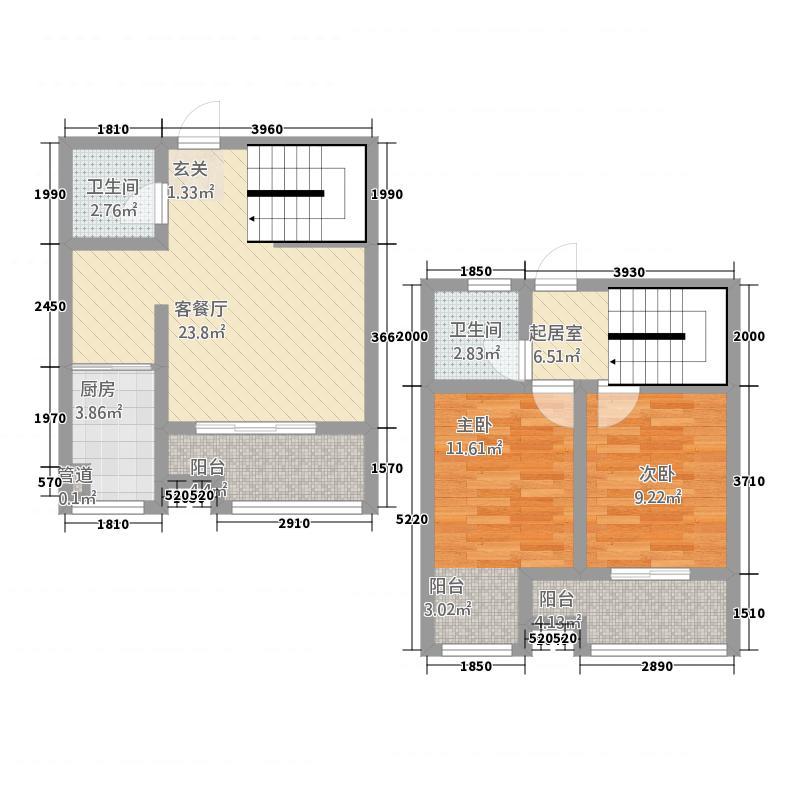 将军府1513.20㎡1-5号楼C户型2室2厅2卫1厨