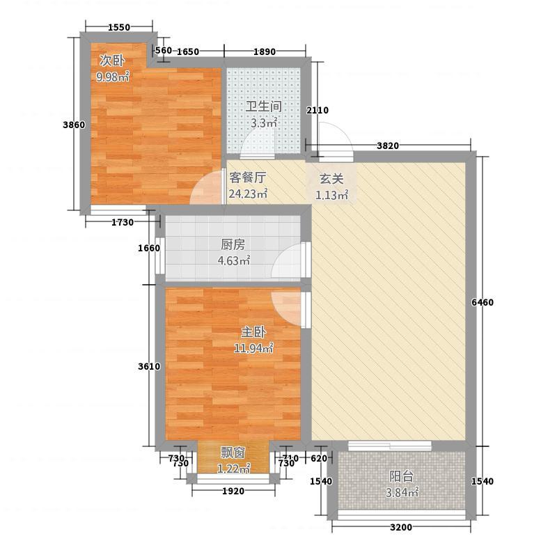 鼎泰观澜83.52㎡2012316103362850户型2室2厅1卫1厨