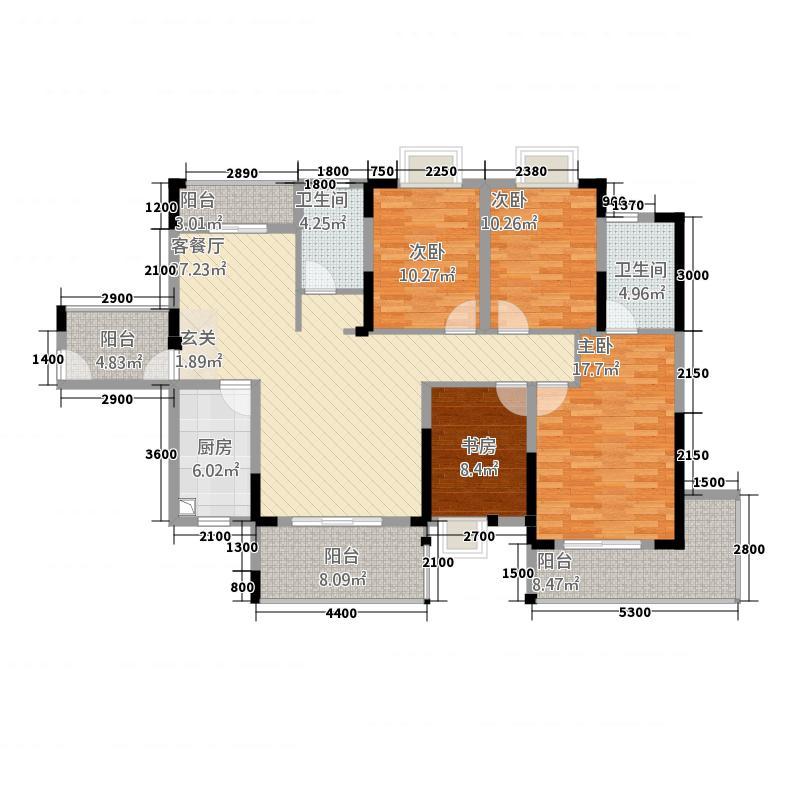 盛世龙城54216.71㎡5#B户型4室2厅2卫1厨