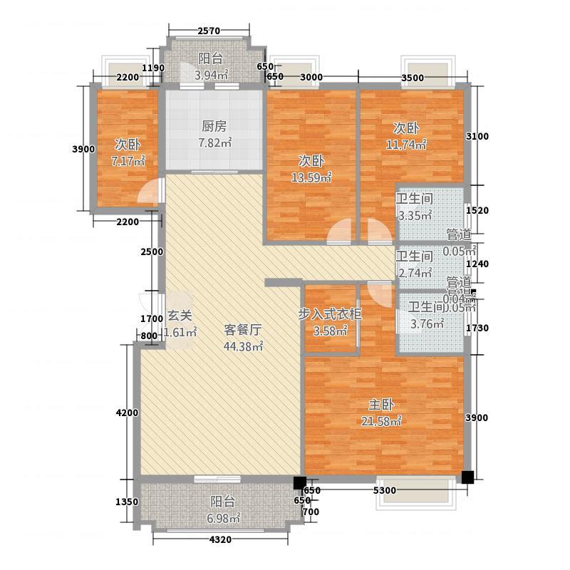 水口雅乐苑161.62㎡N、O幢A、B标准层户型4室2厅3卫1厨