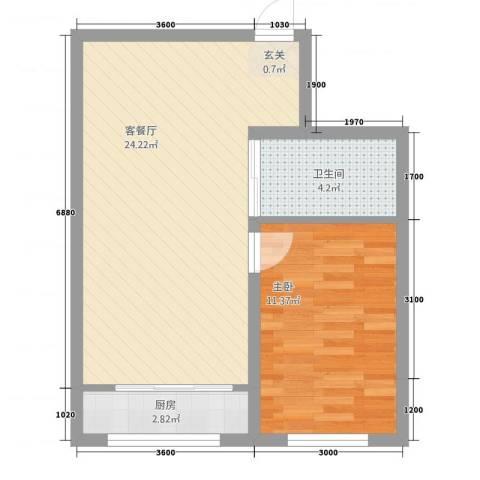 路弘阳光水岸1室1厅1卫1厨53.00㎡户型图