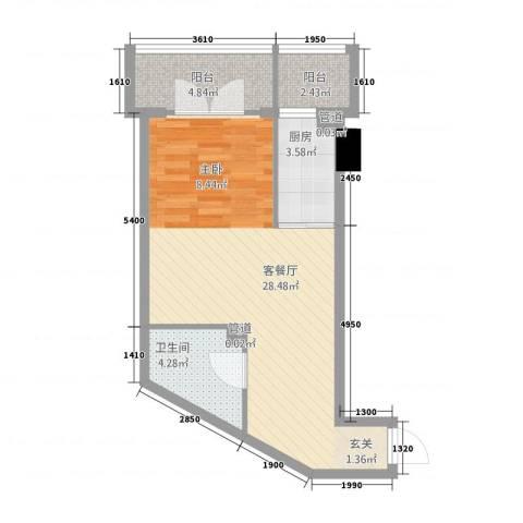 99号公馆1厅1卫1厨115.00㎡户型图