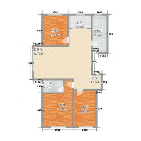 路弘阳光水岸3室1厅2卫1厨141.00㎡户型图