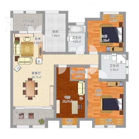 鸿舜御峰3室1厅2卫1厨139.00㎡户型图