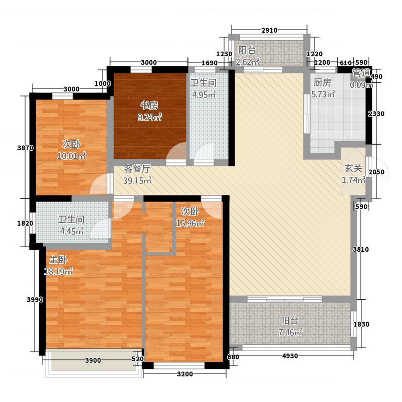 复地金融岛145.20㎡一期B户型4室2厅2卫1厨