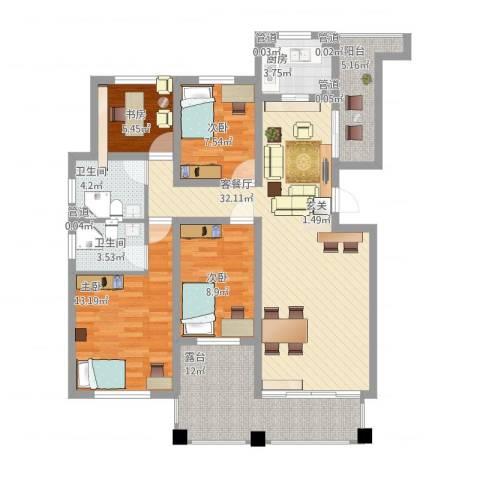 绿地泰晤士新城4室1厅6卫1厨140.00㎡户型图
