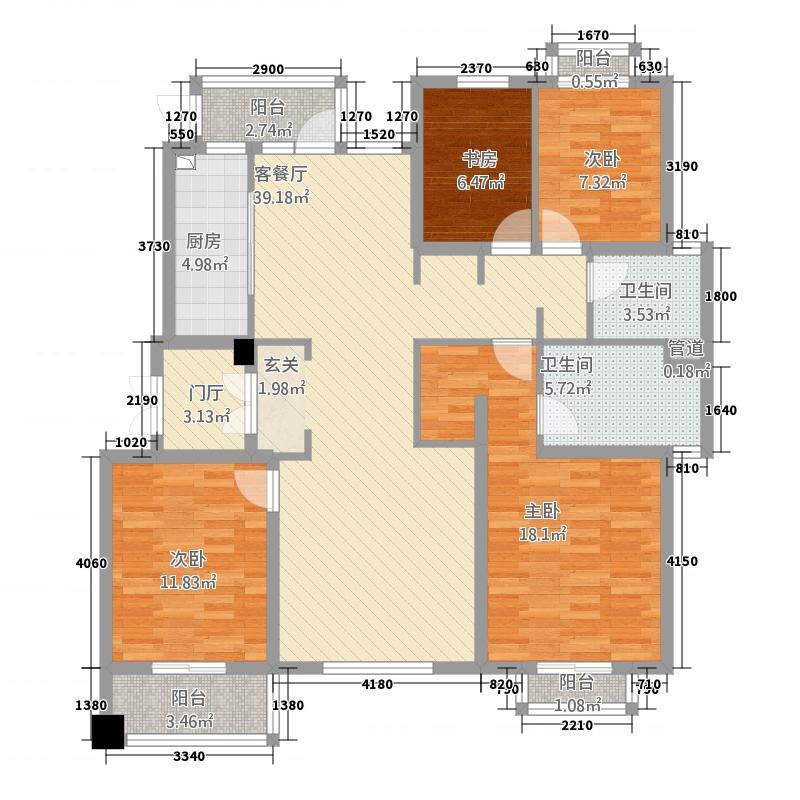 星叶羊山湖花园158.20㎡一期1-14幢标准层B2户型4室2厅2卫1厨