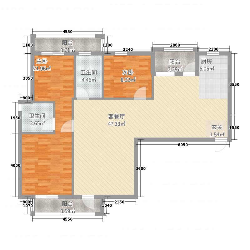 岳口-新天地312.38㎡A户型3室2厅2卫1厨