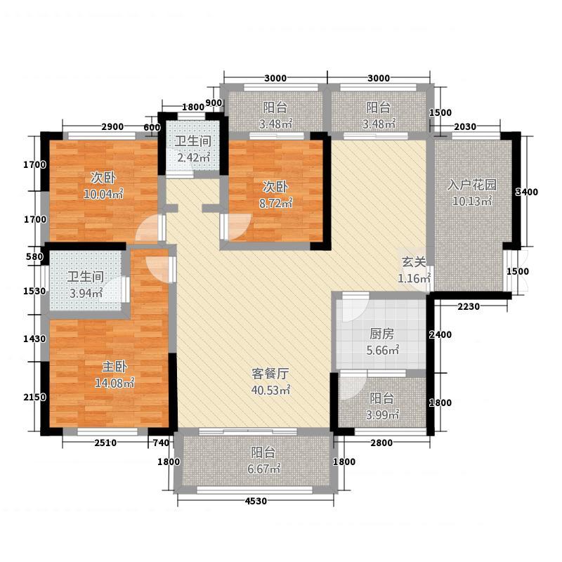 众一・桂府133.22㎡众一紫晶台户型3室2厅2卫