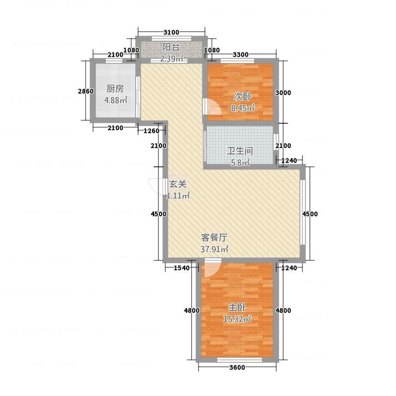 路弘阳光水岸104.43㎡D户型2室2厅1卫