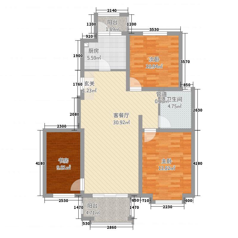 永合鼎泰丰117.20㎡1期小高层B2户型3室2厅1卫