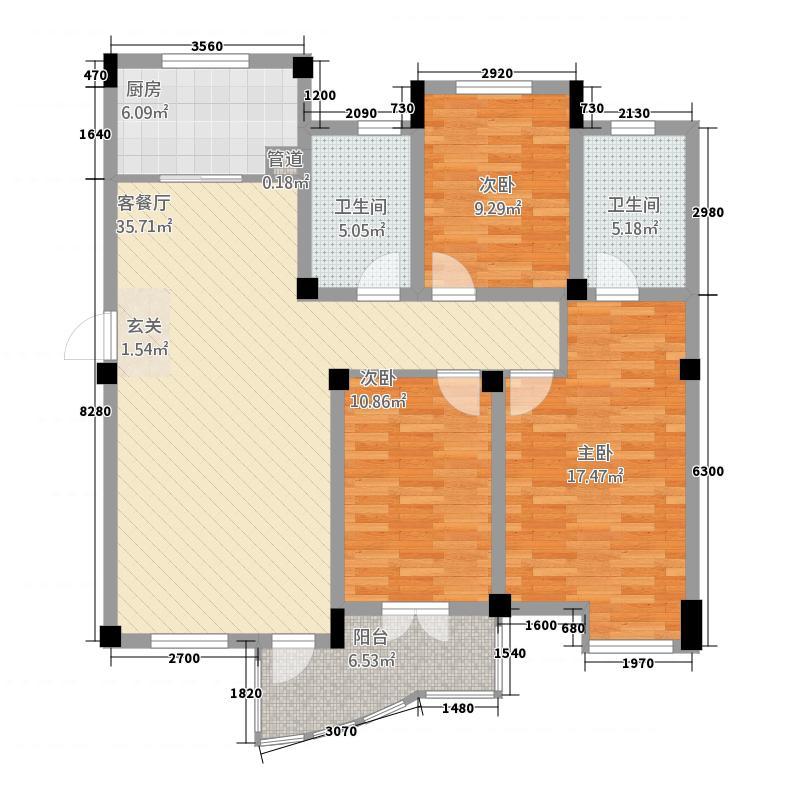 滨海水木花都普通住宅3D-4户型3室1厅2卫1厨