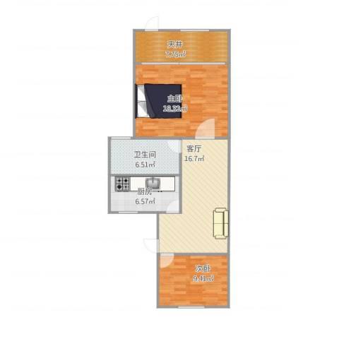 临江二村2室1厅1卫1厨88.00㎡户型图