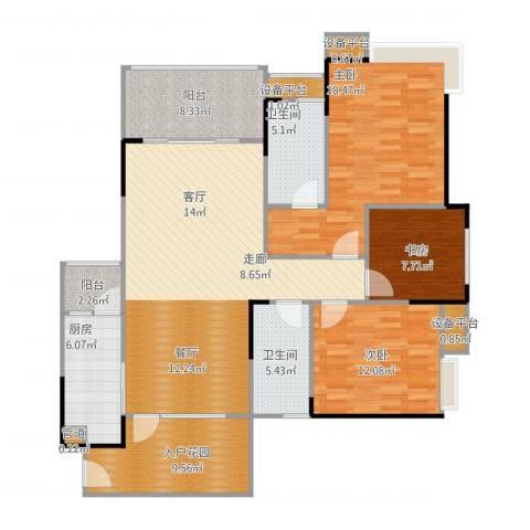 巨成龙湾3室1厅2卫1厨153.00㎡户型图