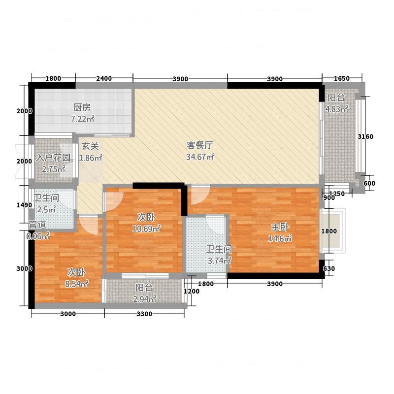 洋和盛世天骄1311.72㎡1-03户型3室2厅2卫1厨