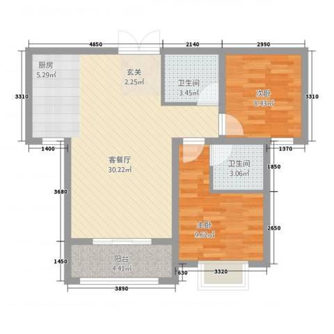 崇城国际2室1厅2卫0厨688.00㎡户型图