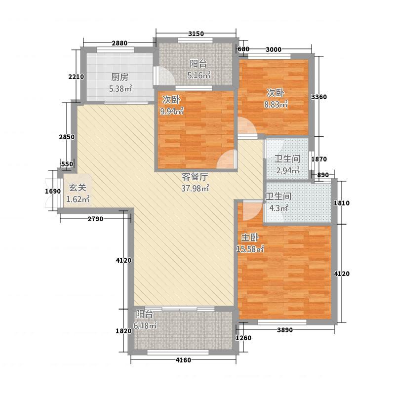 固原COCO蜜城432131.25㎡户型3室2厅2卫1厨