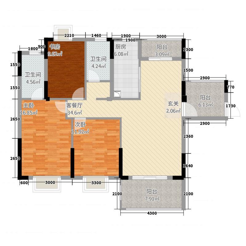 盛世龙城432136.38㎡4#A户型3室2厅2卫1厨