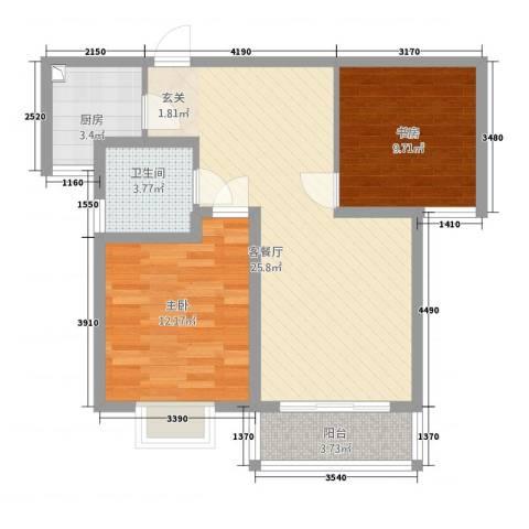 菁英汇2室1厅1卫1厨85.00㎡户型图