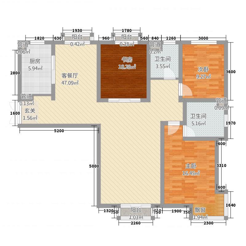 定西・天庆嘉园4514.20㎡4#5#E4户型3室2厅2卫1厨