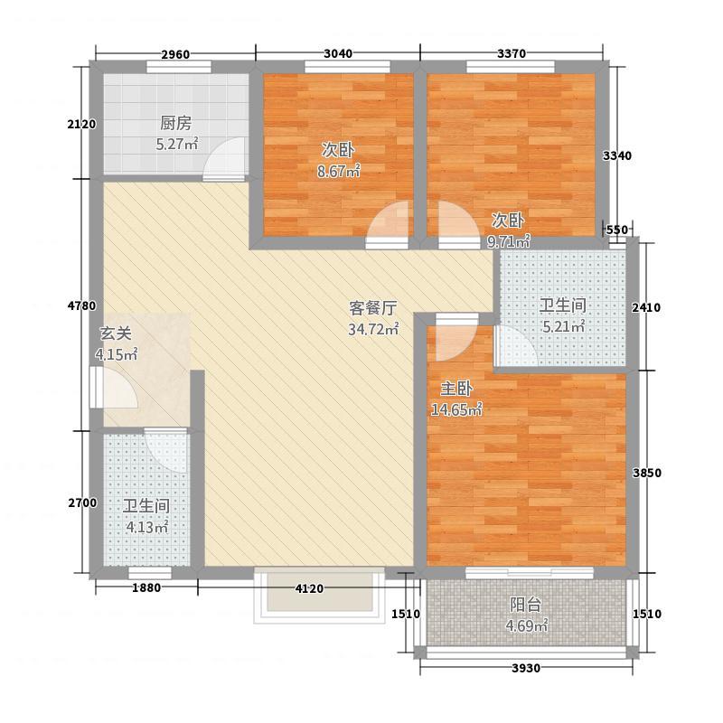 嘉园国际城124.71㎡户型3室2厅2卫1厨