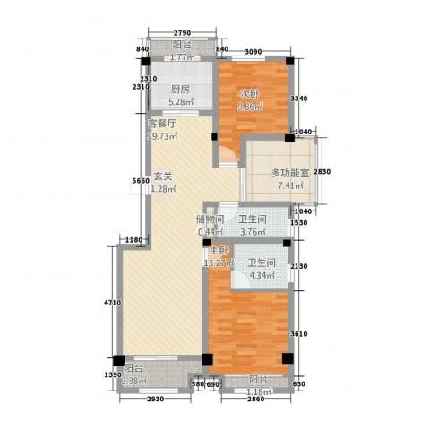 天地华城2室1厅2卫1厨118.00㎡户型图