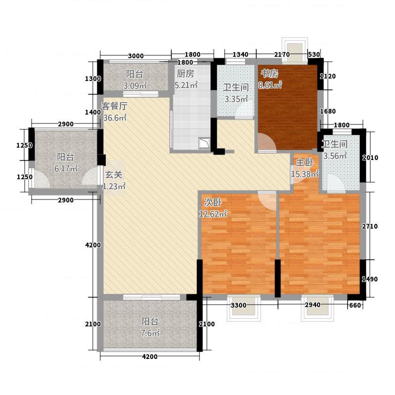 盛世龙城432133.56㎡4#B户型3室2厅2卫1厨