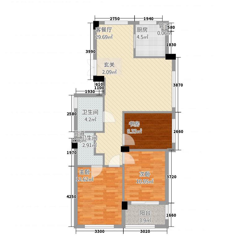 万里世纪豪庭112.20㎡B1户型3室2厅2卫1厨