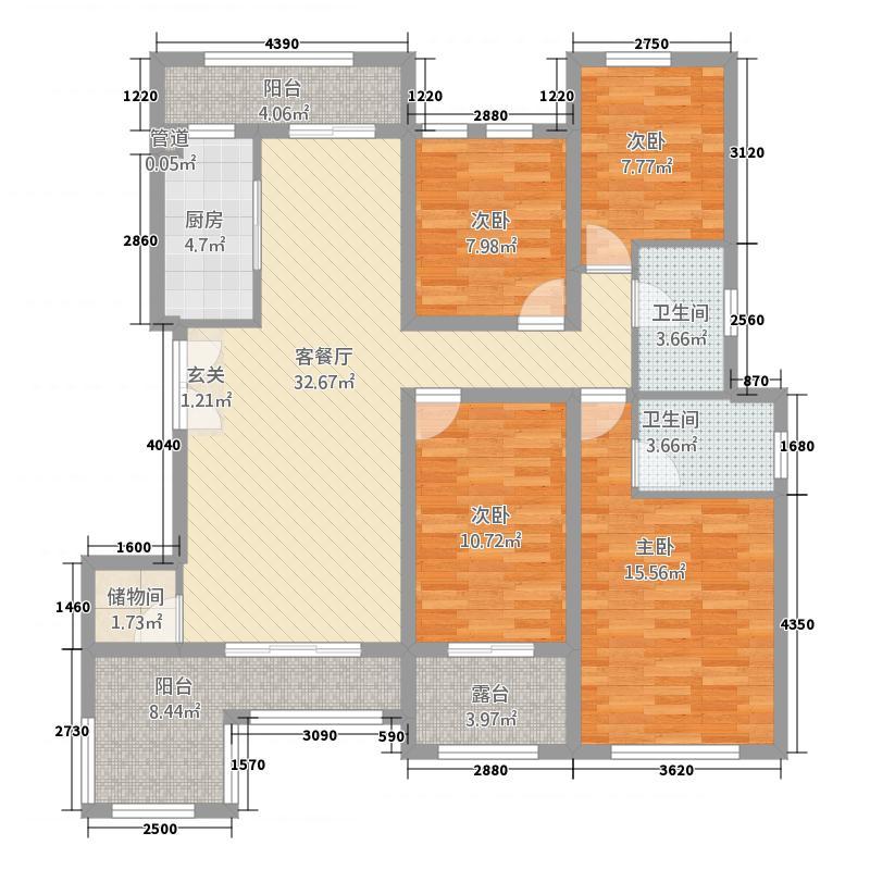 锦绣公馆14422153.00㎡户型4室2厅2卫1厨
