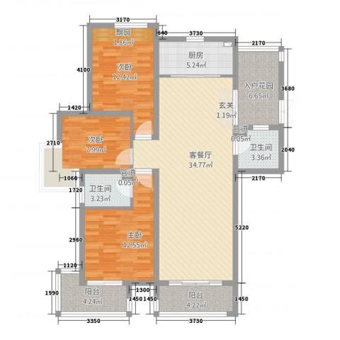 天地华城3室1厅2卫1厨137.00㎡户型图