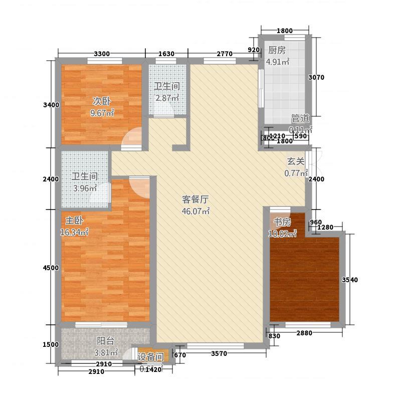 恒业枫林湾3128.62㎡G户型3室2厅1卫1厨
