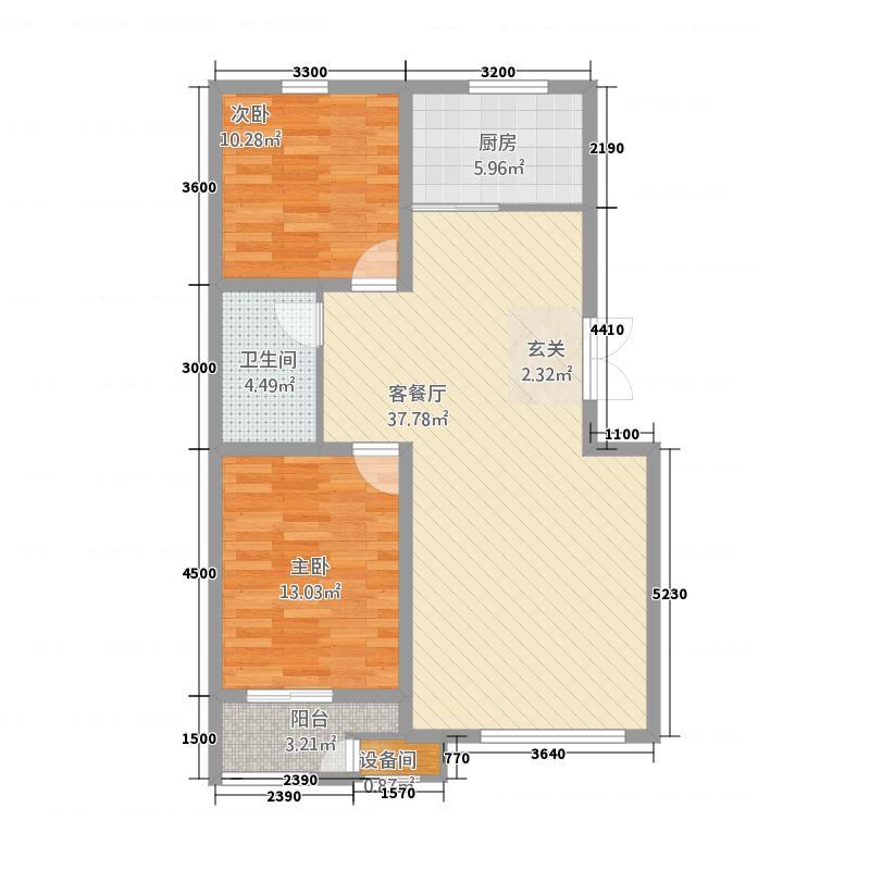 恒业枫林湾28.86㎡B户型2室2厅1卫1厨