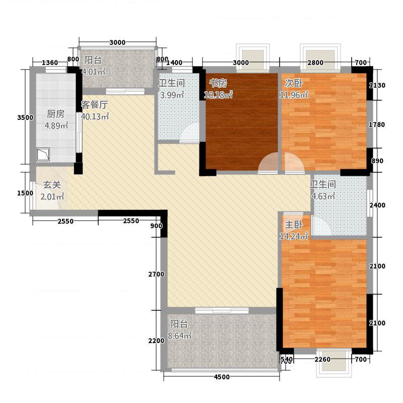 盛世龙城432137.81㎡4#D户型3室2厅2卫1厨
