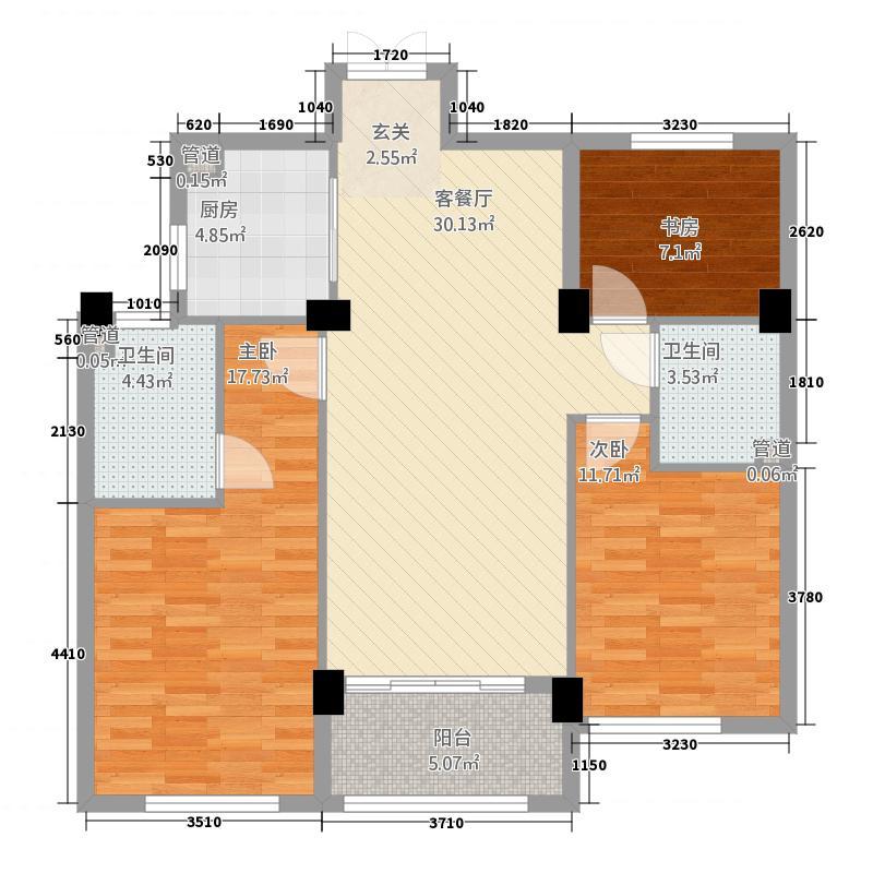 万里世纪豪庭212.20㎡B2户型3室2厅2卫1厨