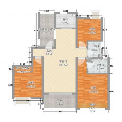 天地华城3室1厅2卫1厨128.00㎡户型图