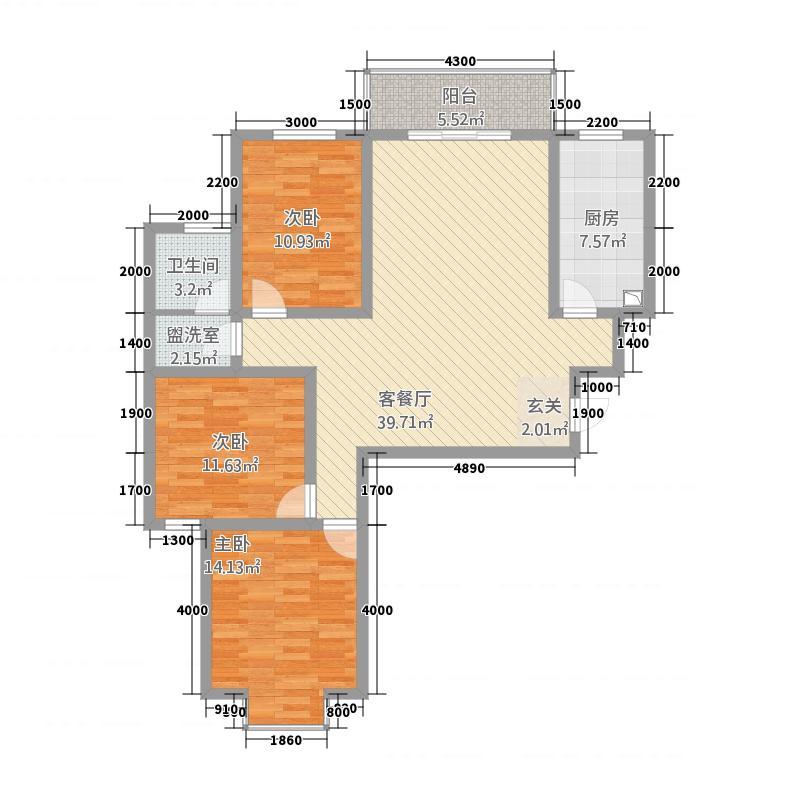 洛宁香泉花园一期A户型3室2厅1卫1厨