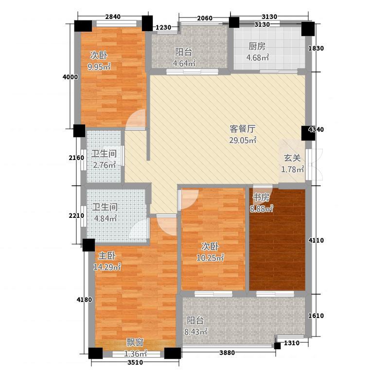 香溪美地14138.20㎡户型4室2厅2卫1厨