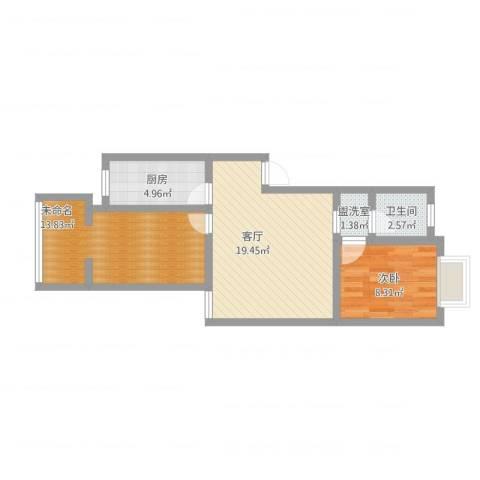 金帆小区1室2厅1卫1厨74.00㎡户型图
