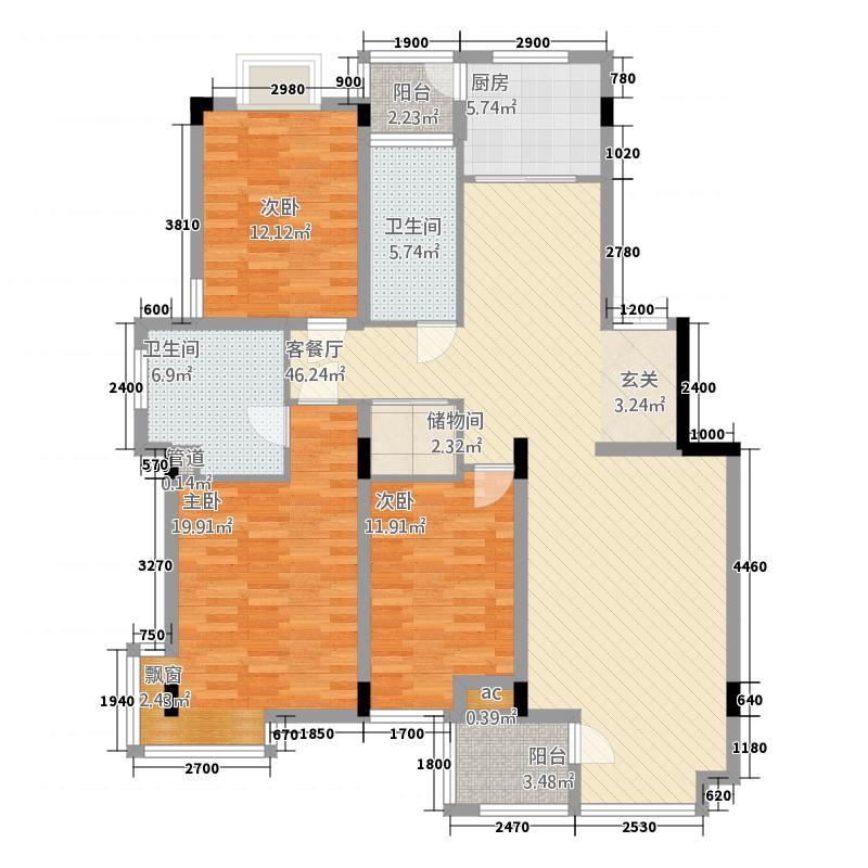 飞霞港湾315.20㎡户型3室2厅2卫1厨