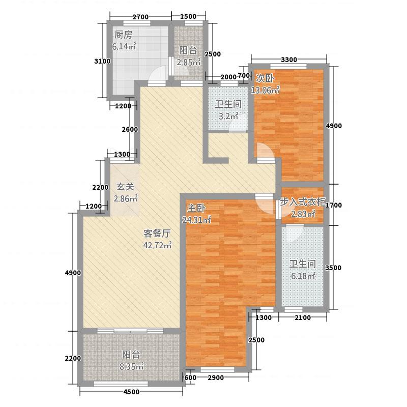奥伦达部落西郡原著131.47㎡一期高层B1户型2室2厅2卫1厨