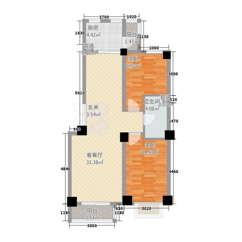 碧水明珠2.20㎡户型2室2厅1卫1厨