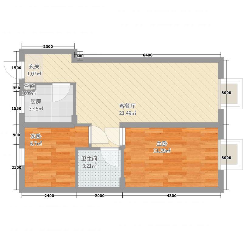 三合鑫城2272.84㎡C户型2室2厅1卫1厨