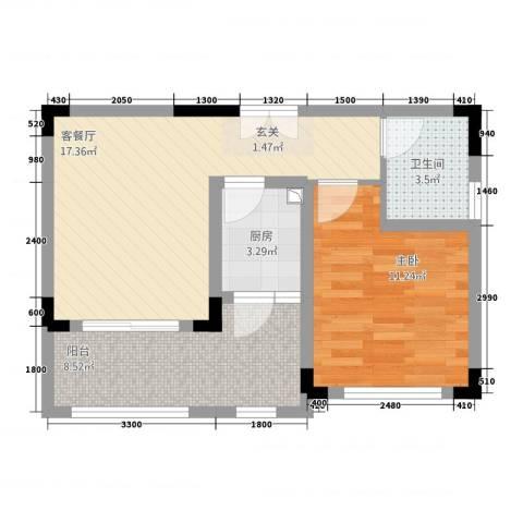 10里・原麓1室1厅1卫1厨64.00㎡户型图