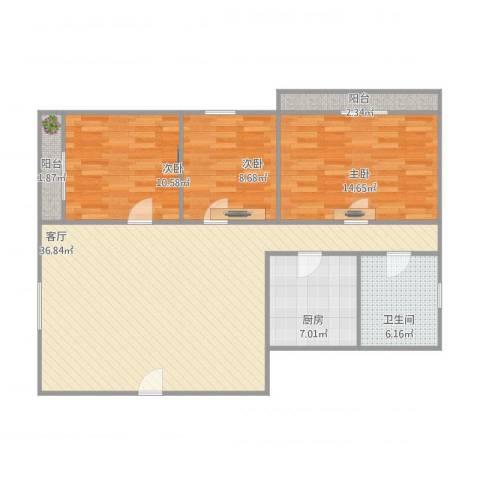 华侨花园3室1厅1卫1厨119.00㎡户型图