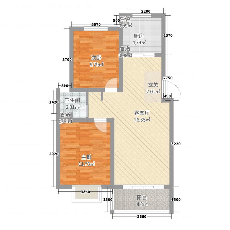 金狮薇尼诗花园87.20㎡都灵花苑―B1户型2室1卫